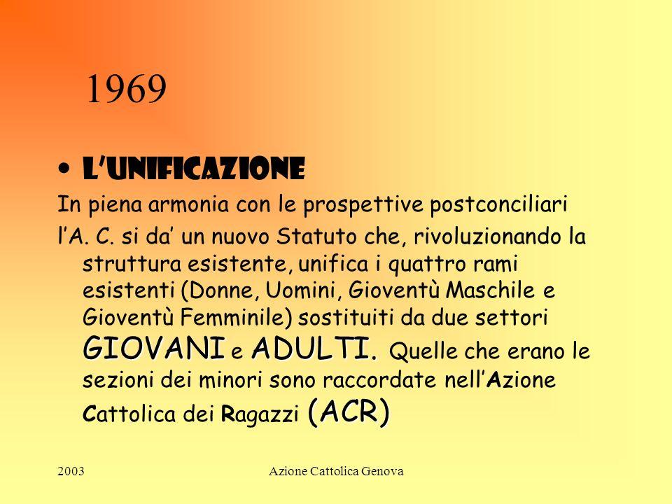2003Azione Cattolica Genova Anni 60 Nel 1962 si apre il Concilio Vaticano II e, nel 1964, viene nominato Presidente della Giunta Centrale di AC Vittor