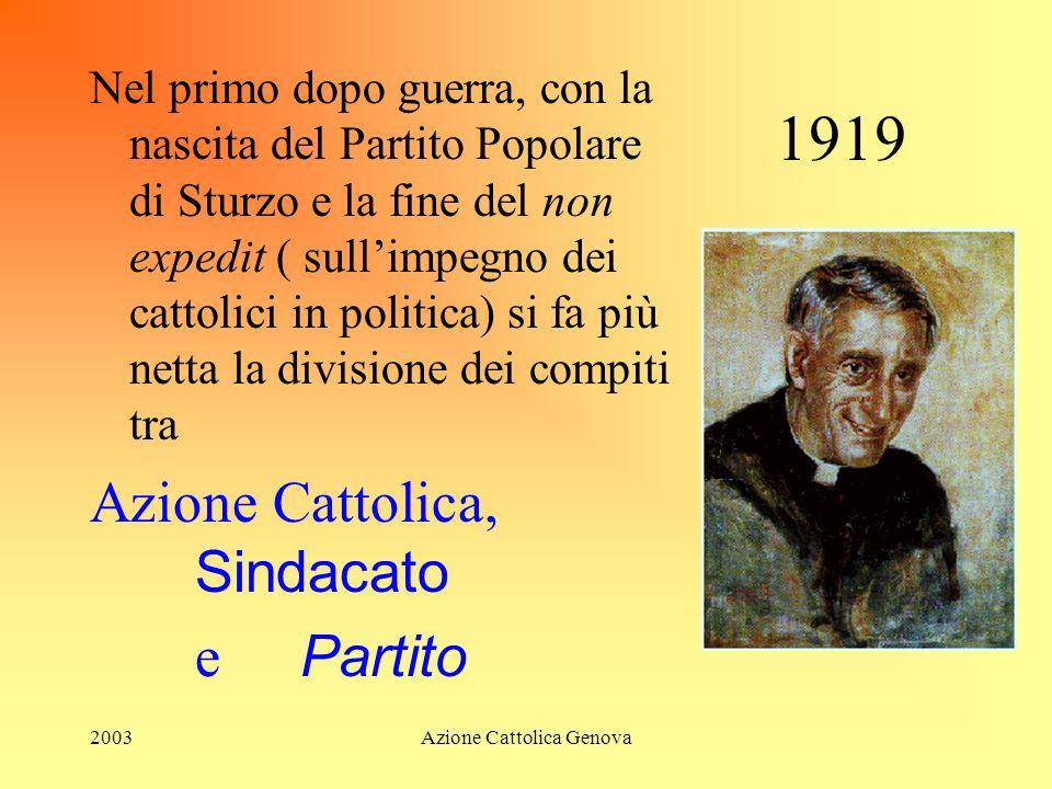 2003Azione Cattolica Genova 1919 Nel primo dopo guerra, con la nascita del Partito Popolare di Sturzo e la fine del non expedit ( sullimpegno dei cattolici in politica) si fa più netta la divisione dei compiti tra Azione Cattolica, Sindacato e Partito
