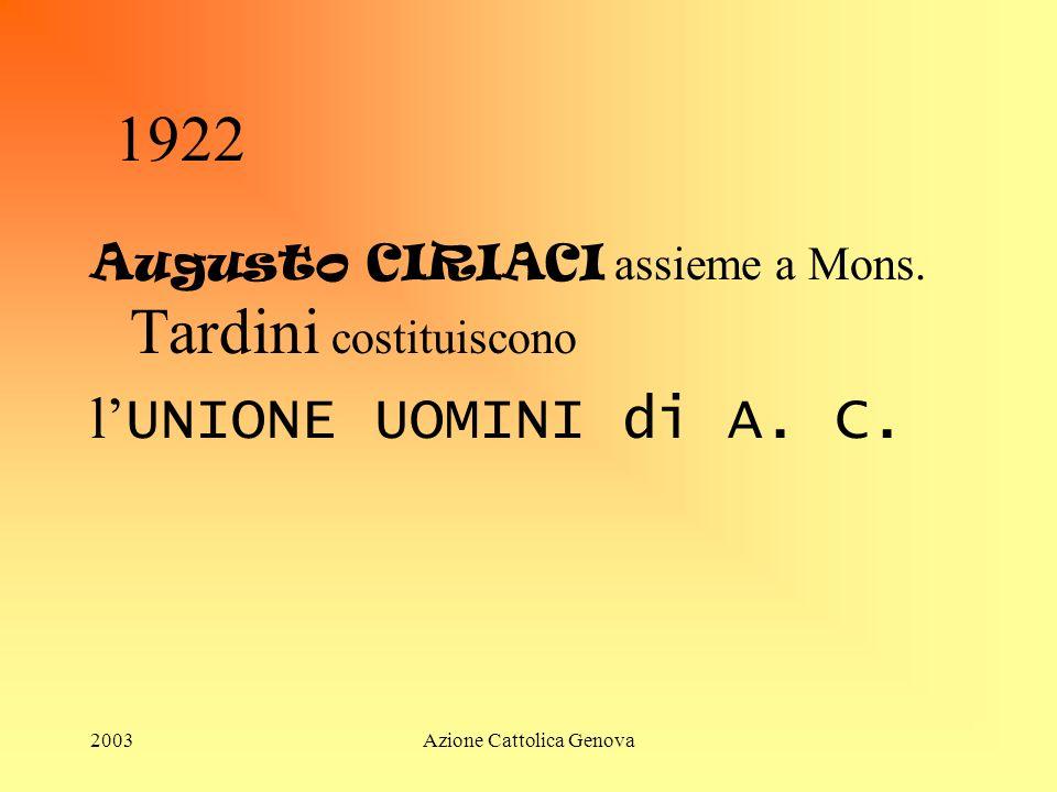 2003Azione Cattolica Genova 1919 Nel primo dopo guerra, con la nascita del Partito Popolare di Sturzo e la fine del non expedit ( sullimpegno dei catt