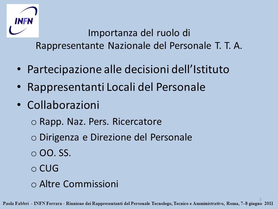 Importanza del ruolo di Rappresentante Nazionale del Personale T.