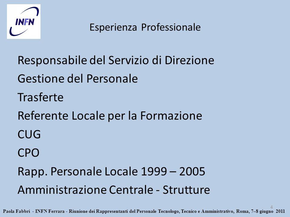 Esperienza Professionale Responsabile del Servizio di Direzione Gestione del Personale Trasferte Referente Locale per la Formazione CUG CPO Rapp.