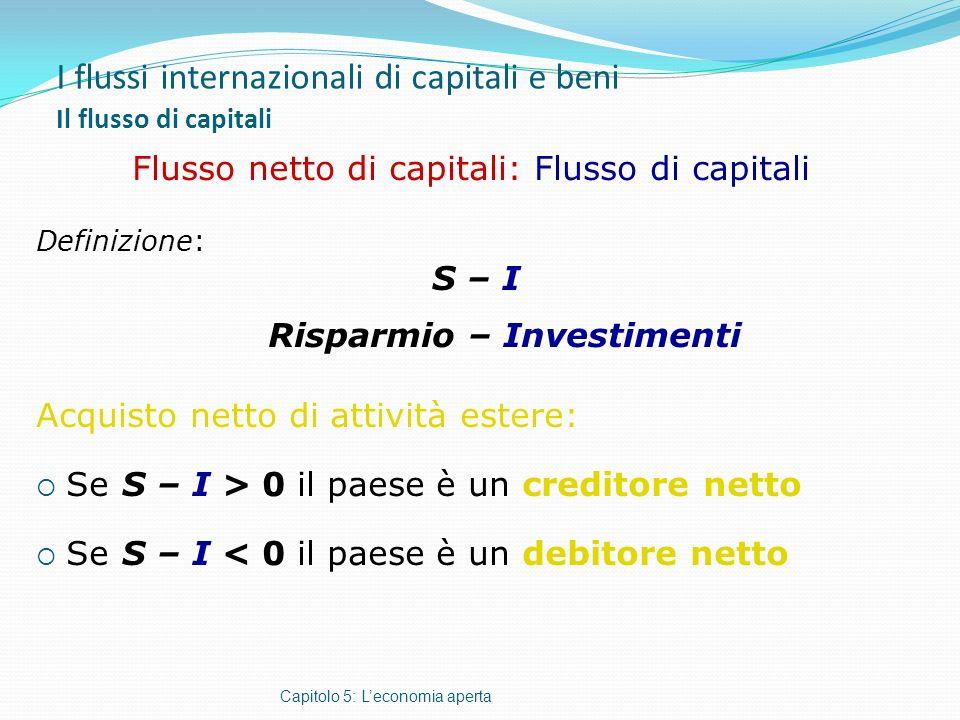 I flussi internazionali di capitali e beni Il flusso di capitali Capitolo 5: Leconomia aperta Flusso netto di capitali: Flusso di capitali Definizione