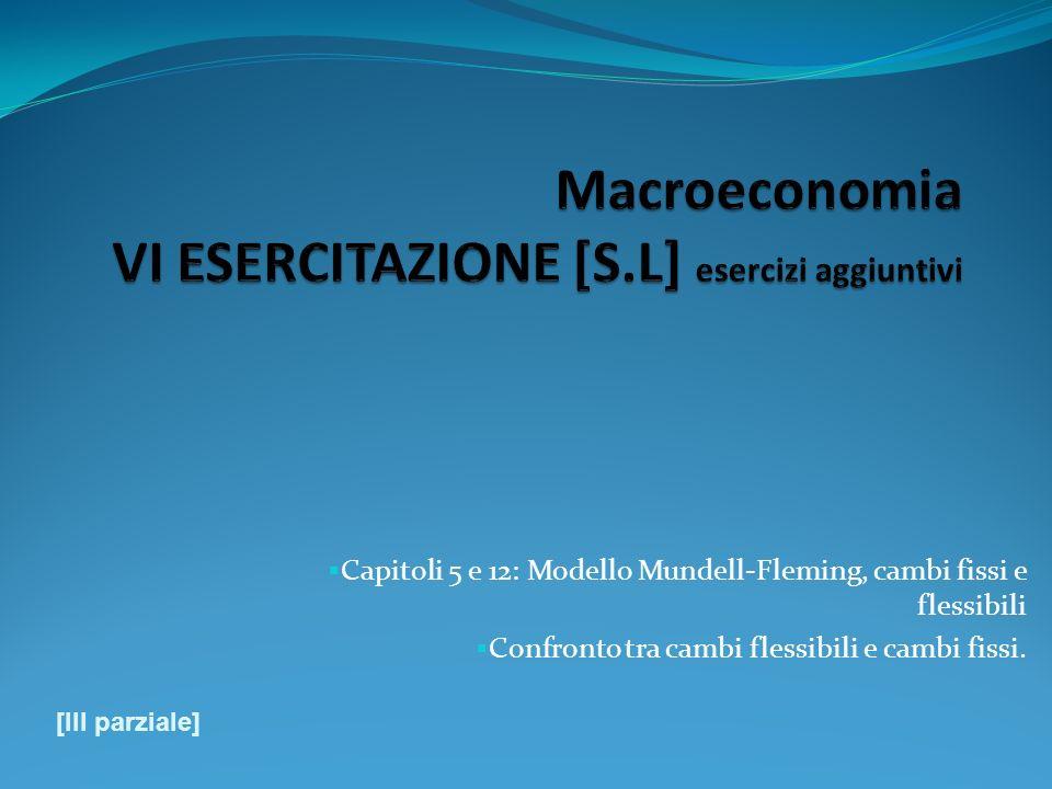 Capitoli 5 e 12: Modello Mundell-Fleming, cambi fissi e flessibili Confronto tra cambi flessibili e cambi fissi. [III parziale]