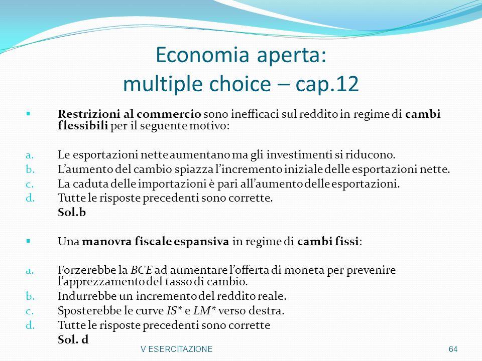 Economia aperta: multiple choice – cap.12 Restrizioni al commercio sono inefficaci sul reddito in regime di cambi flessibili per il seguente motivo: a