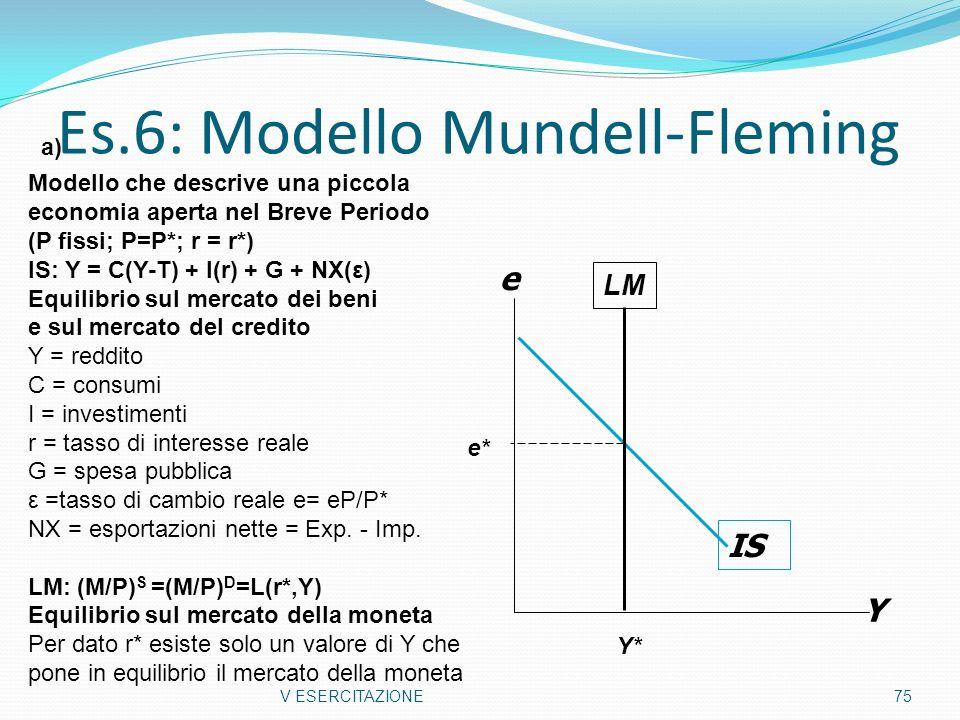 Es.6: Modello Mundell-Fleming V ESERCITAZIONE75 IS Y e Modello che descrive una piccola economia aperta nel Breve Periodo (P fissi; P=P*; r = r*) IS: