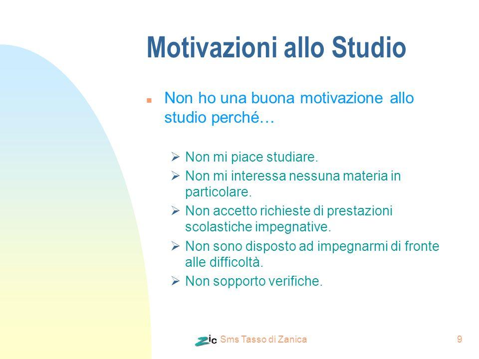 Sms Tasso di Zanica9 Motivazioni allo Studio n Non ho una buona motivazione allo studio perché… Non mi piace studiare. Non mi interessa nessuna materi