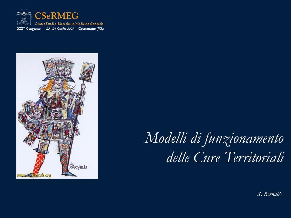 CSeRMEG Centro Studi e Ricerche in Medicina Generale Modelli di funzionamento delle Cure Territoriali XXI° Congresso 23 - 24 Ottobre 2009 Costermano (