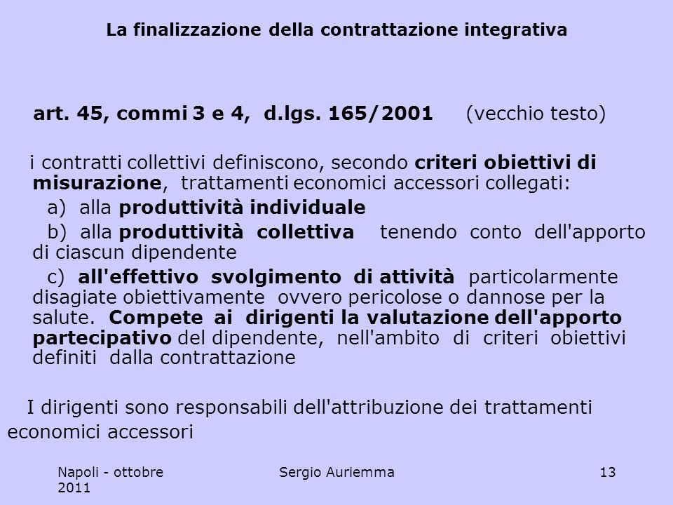 Napoli - ottobre 2011 Sergio Auriemma13 La finalizzazione della contrattazione integrativa art.