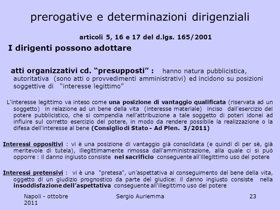 Napoli - ottobre 2011 Sergio Auriemma23 prerogative e determinazioni dirigenziali articoli 5, 16 e 17 del d.lgs.