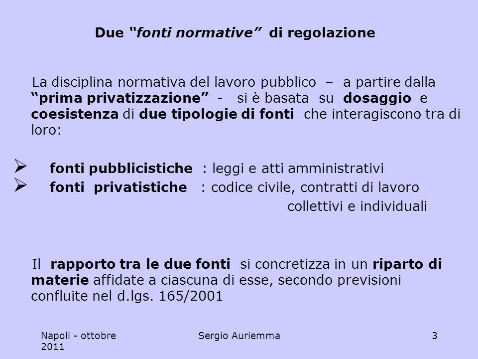 Napoli - ottobre 2011 Sergio Auriemma14 Le nuove regole del Sistema carattere imperativo delle disposizioni dettate dal d.lgs.