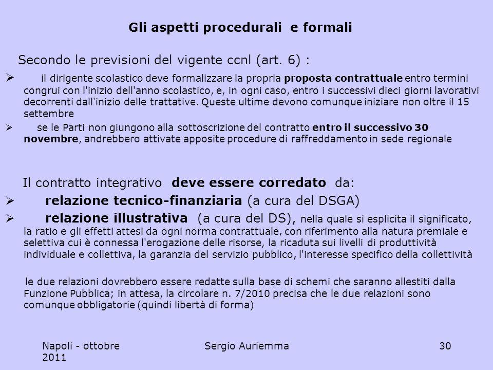 Napoli - ottobre 2011 Sergio Auriemma30 Gli aspetti procedurali e formali Secondo le previsioni del vigente ccnl (art.