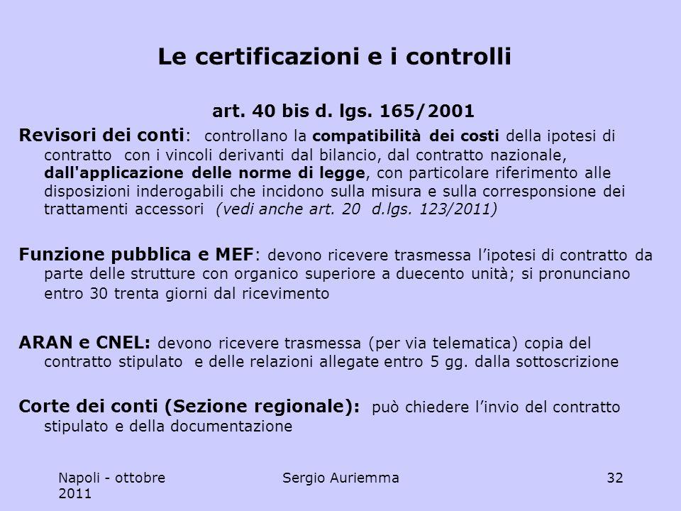 Napoli - ottobre 2011 Sergio Auriemma32 Le certificazioni e i controlli art.
