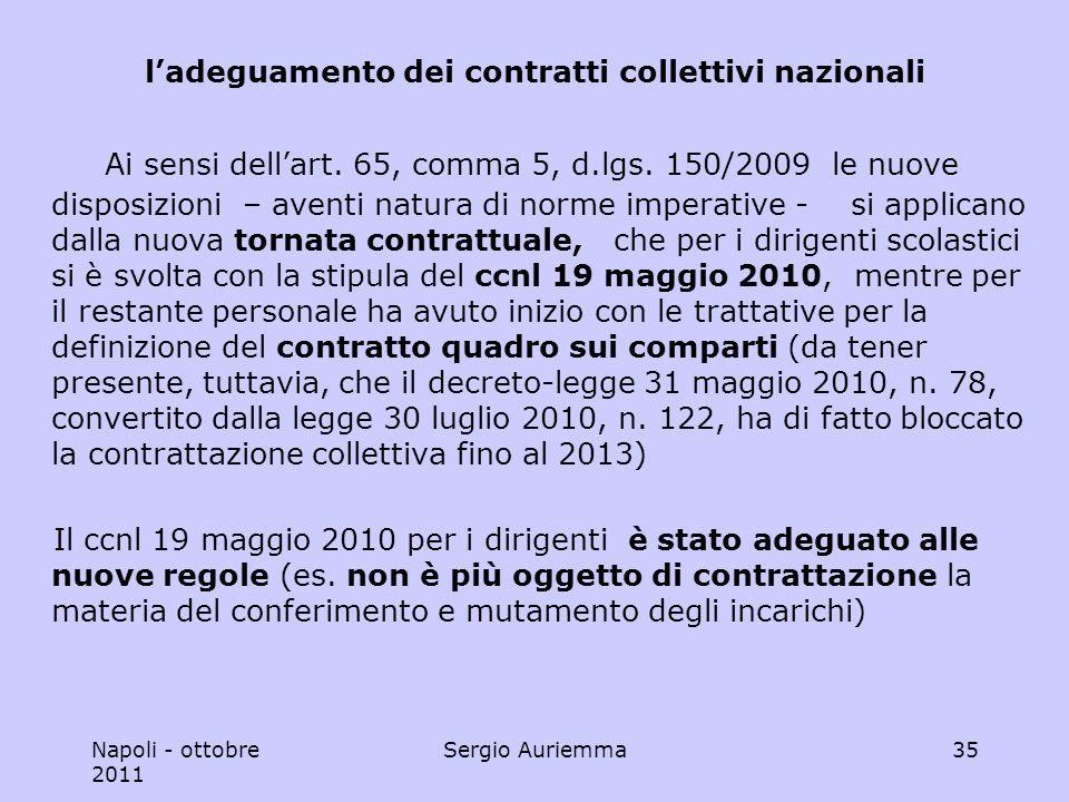 Napoli - ottobre 2011 Sergio Auriemma35 ladeguamento dei contratti collettivi nazionali Ai sensi dellart.