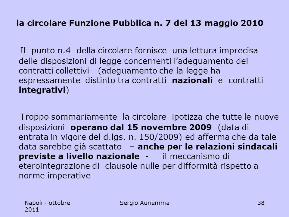 Napoli - ottobre 2011 Sergio Auriemma38 la circolare Funzione Pubblica n.