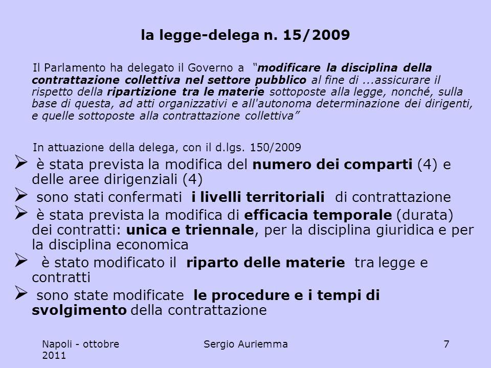 Napoli - ottobre 2011 Sergio Auriemma18 le materie escluse organizzazione degli uffici partecipazione sindacale prerogative dirigenziali (art.