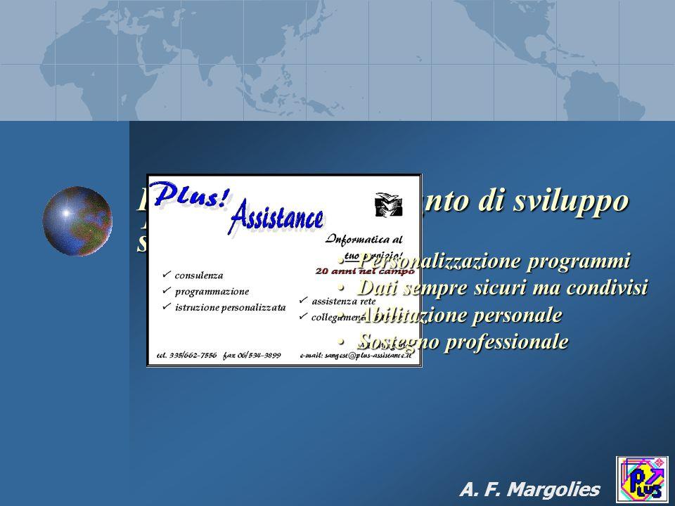 Plus! Il valore aggiunto di sviluppo software: Plus! Assistance A. F. Margolies Personalizzazione programmiPersonalizzazione programmi Dati sempre sic