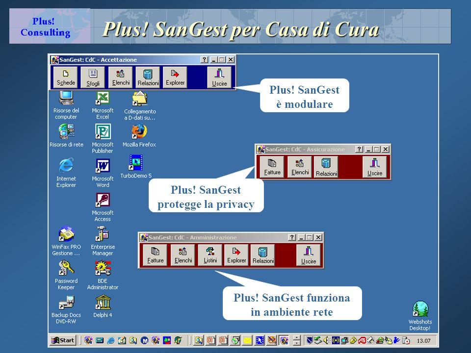 Plus! SanGest per Casa di Cura Plus! SanGest è modulare Plus! SanGest funziona in ambiente rete Plus! SanGest protegge la privacy