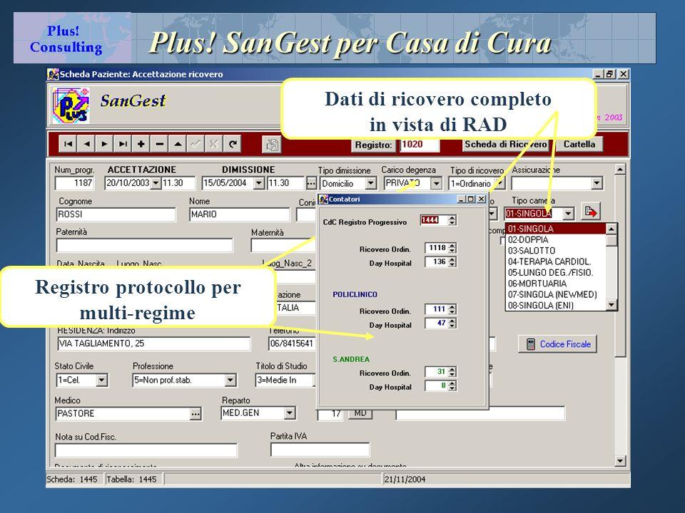 Plus! SanGest per Casa di Cura Dati di ricovero completo in vista di RAD Registro protocollo per multi-regime
