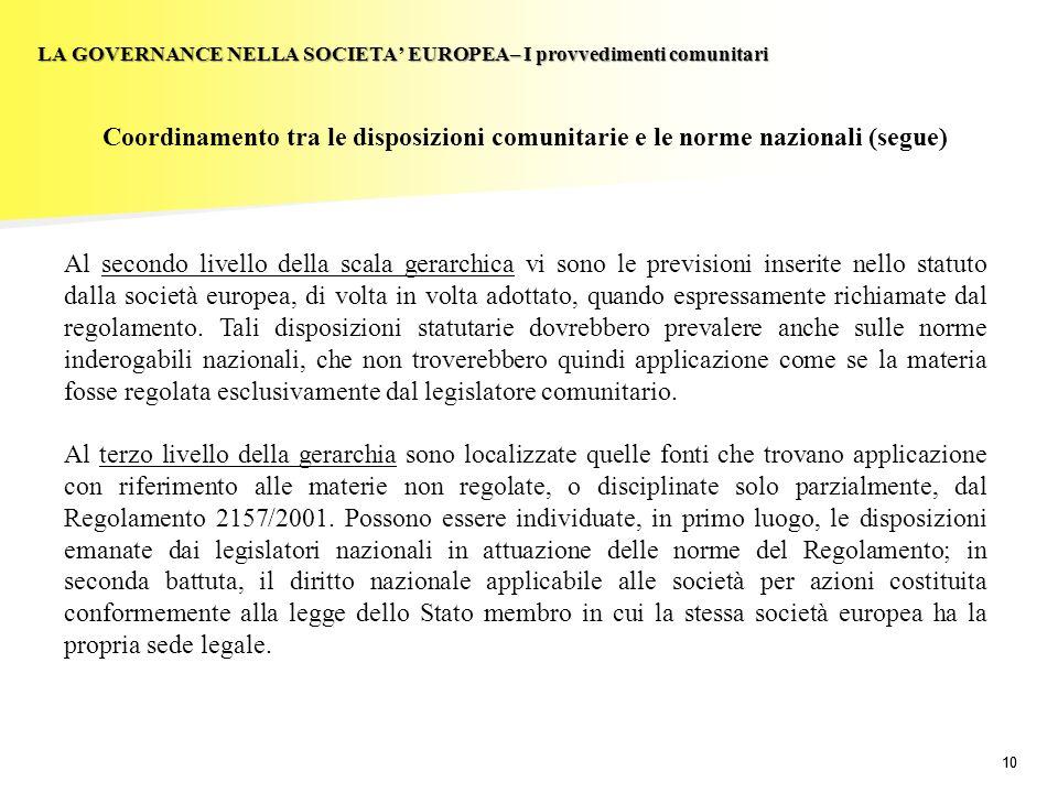 10 LA GOVERNANCE NELLA SOCIETA EUROPEA– I provvedimenti comunitari Coordinamento tra le disposizioni comunitarie e le norme nazionali (segue) Al secon