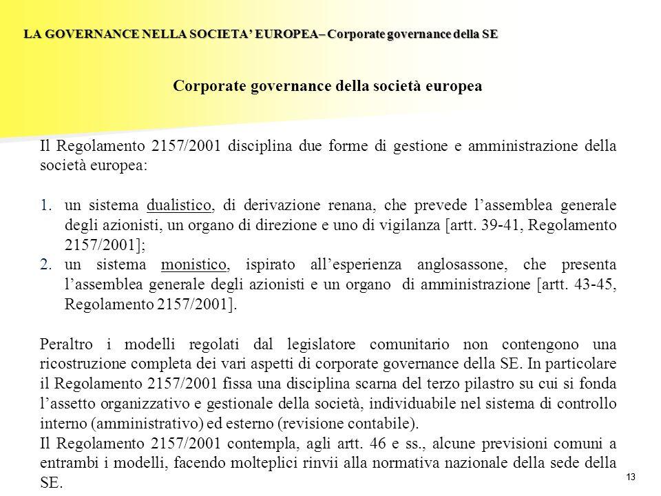 13 LA GOVERNANCE NELLA SOCIETA EUROPEA– Corporate governance della SE Corporate governance della società europea Il Regolamento 2157/2001 disciplina d