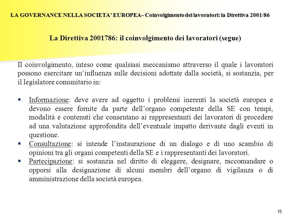 15 LA GOVERNANCE NELLA SOCIETA EUROPEA– Coinvolgimento dei lavoratori: la Direttiva 2001/86 La Direttiva 2001786: il coinvolgimento dei lavoratori (se