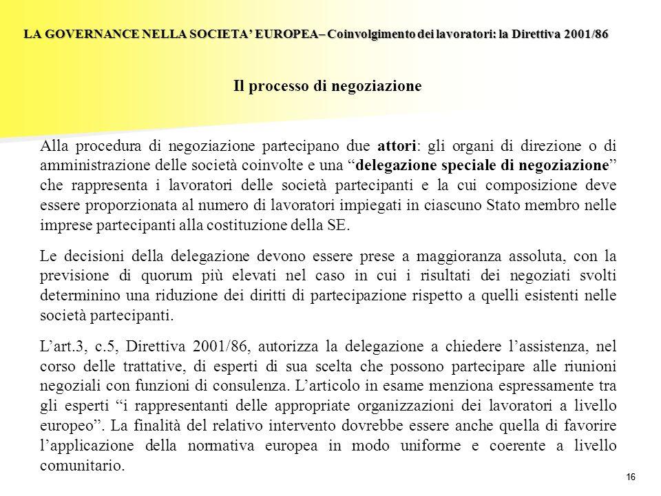 16 LA GOVERNANCE NELLA SOCIETA EUROPEA– Coinvolgimento dei lavoratori: la Direttiva 2001/86 Il processo di negoziazione Alla procedura di negoziazione