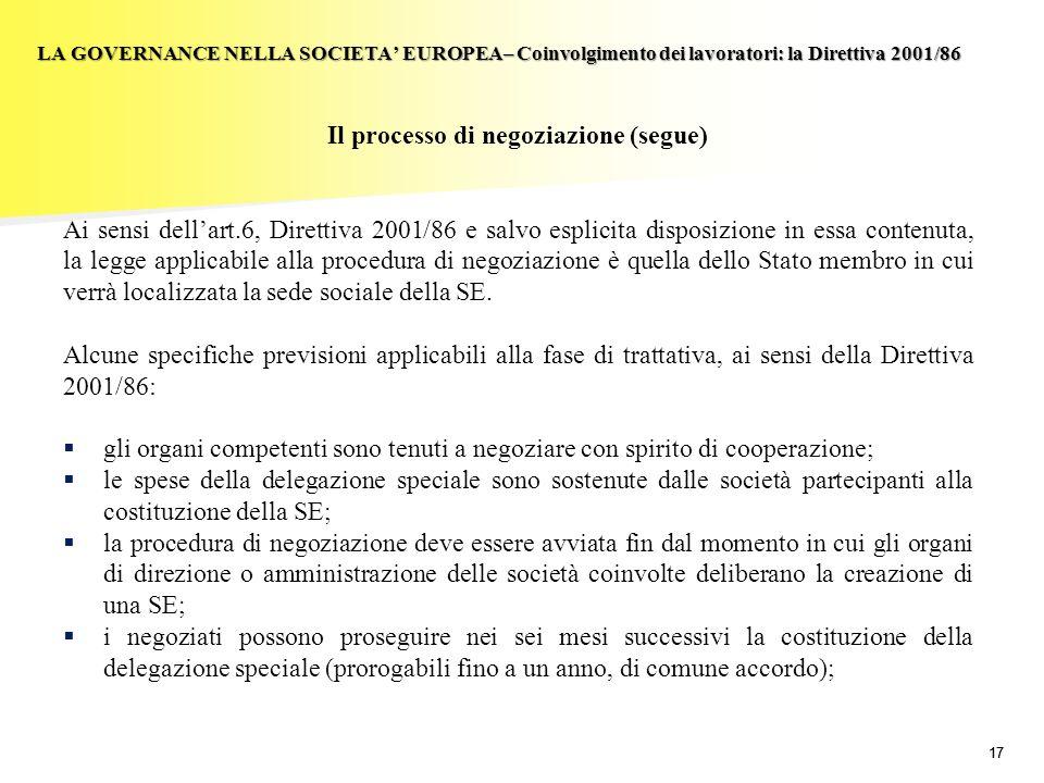 17 LA GOVERNANCE NELLA SOCIETA EUROPEA– Coinvolgimento dei lavoratori: la Direttiva 2001/86 Il processo di negoziazione (segue) Ai sensi dellart.6, Di