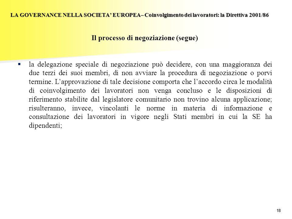 18 LA GOVERNANCE NELLA SOCIETA EUROPEA– Coinvolgimento dei lavoratori: la Direttiva 2001/86 Il processo di negoziazione (segue) la delegazione special
