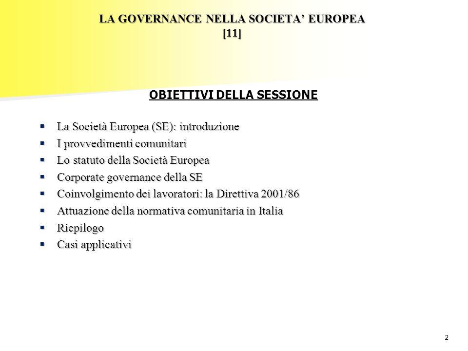 22 LA GOVERNANCE NELLA SOCIETA EUROPEA [11] La Società Europea (SE): introduzione La Società Europea (SE): introduzione I provvedimenti comunitari I p