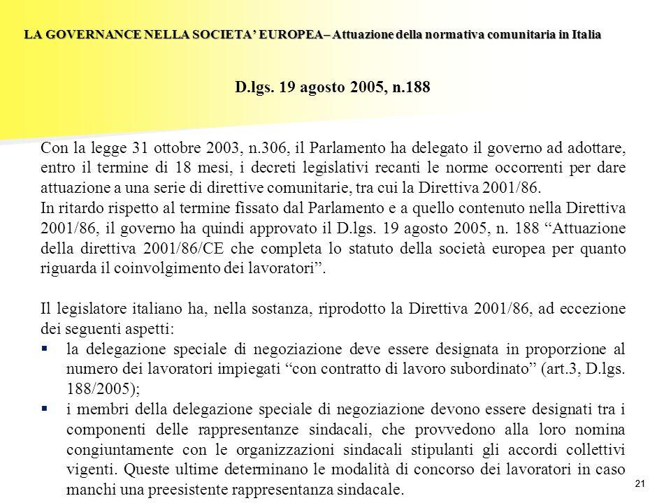 21 LA GOVERNANCE NELLA SOCIETA EUROPEA– Attuazione della normativa comunitaria in Italia D.lgs. 19 agosto 2005, n.188 Con la legge 31 ottobre 2003, n.