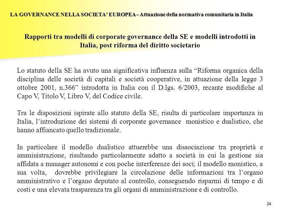 24 LA GOVERNANCE NELLA SOCIETA EUROPEA– Attuazione della normativa comunitaria in Italia Rapporti tra modelli di corporate governance della SE e model