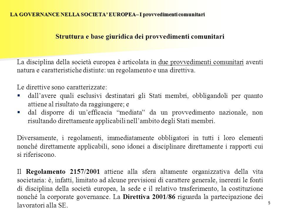 55 LA GOVERNANCE NELLA SOCIETA EUROPEA– I provvedimenti comunitari Struttura e base giuridica dei provvedimenti comunitari La disciplina della società