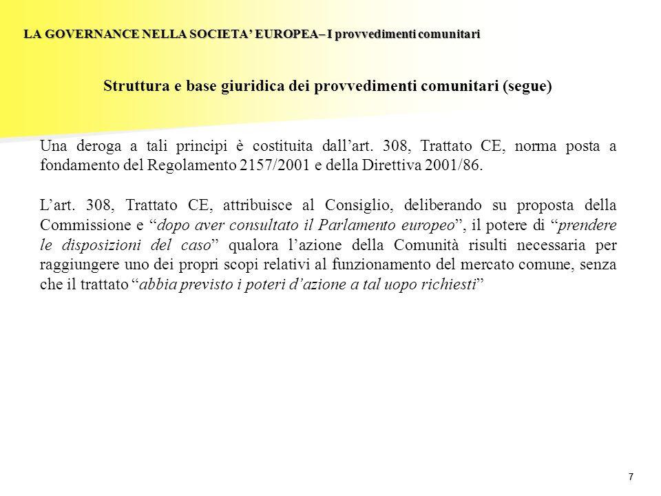 18 LA GOVERNANCE NELLA SOCIETA EUROPEA– Coinvolgimento dei lavoratori: la Direttiva 2001/86 Il processo di negoziazione (segue) la delegazione speciale di negoziazione può decidere, con una maggioranza dei due terzi dei suoi membri, di non avviare la procedura di negoziazione o porvi termine.