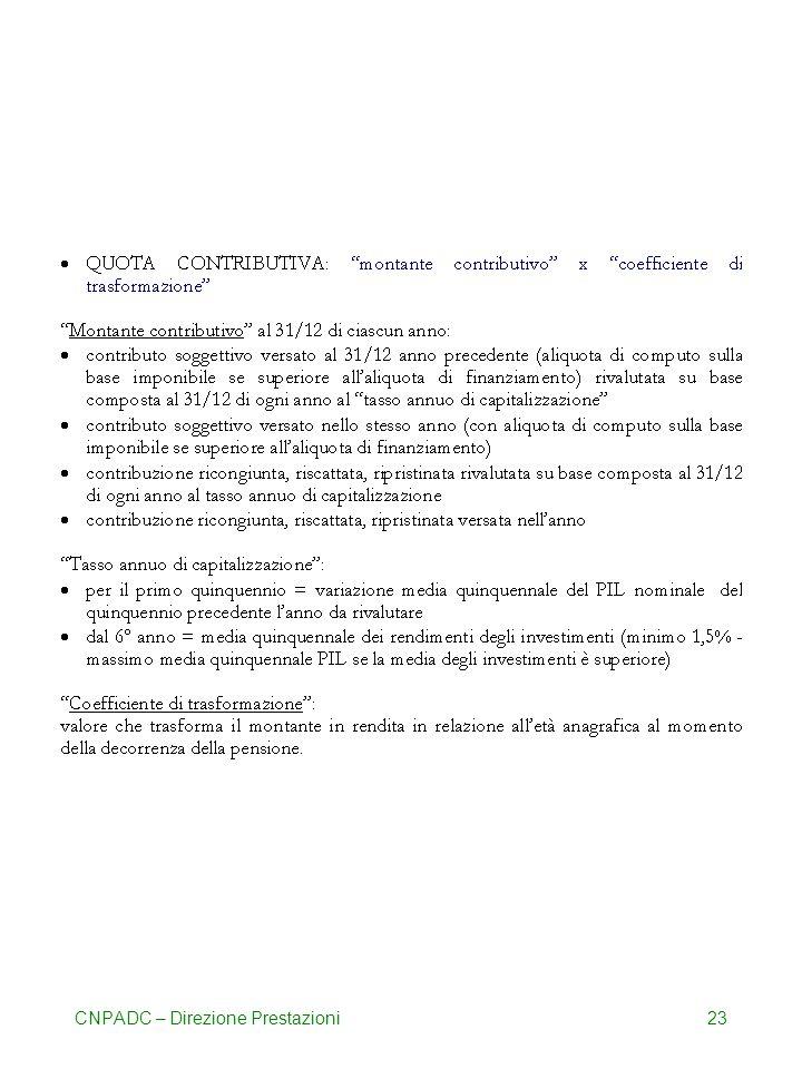 CNPADC – Direzione Prestazioni23