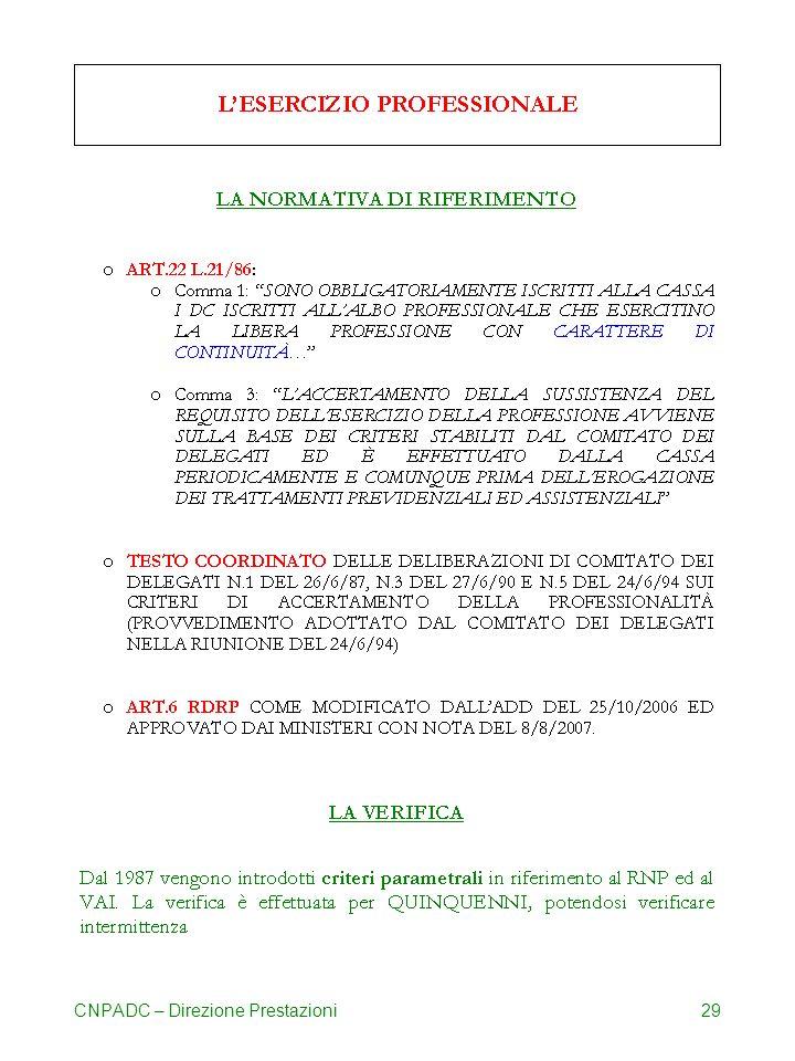 CNPADC – Direzione Prestazioni29