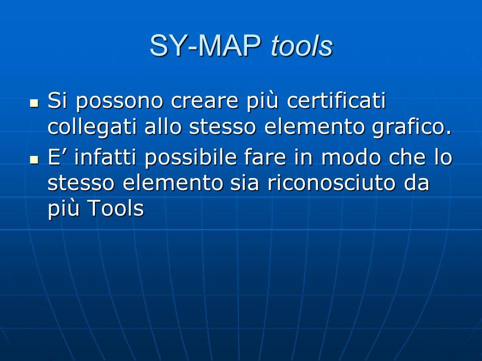 SY-MAP tools Si possono creare più certificati collegati allo stesso elemento grafico. Si possono creare più certificati collegati allo stesso element