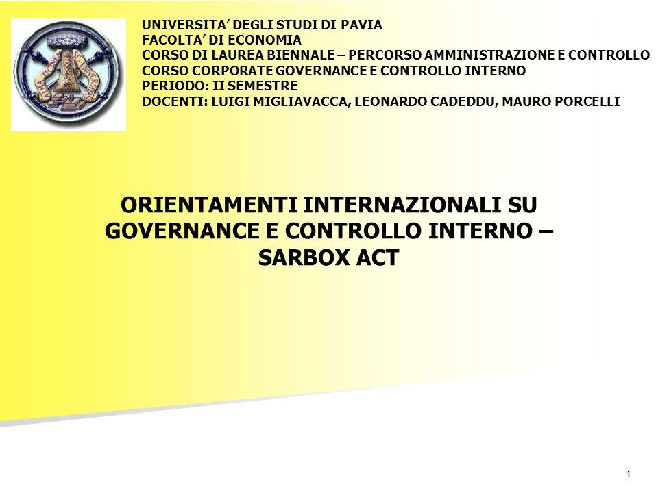 11 ORIENTAMENTI INTERNAZIONALI SU GOVERNANCE E CONTROLLO INTERNO – SARBOX ACT UNIVERSITA DEGLI STUDI DI PAVIA FACOLTA DI ECONOMIA CORSO DI LAUREA BIENNALE – PERCORSO AMMINISTRAZIONE E CONTROLLO CORSO CORPORATE GOVERNANCE E CONTROLLO INTERNO PERIODO: II SEMESTRE DOCENTI: LUIGI MIGLIAVACCA, LEONARDO CADEDDU, MAURO PORCELLI
