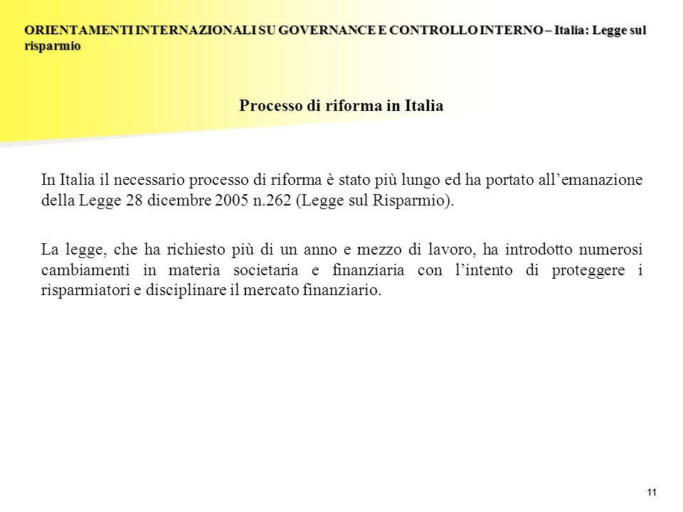 11 Processo di riforma in Italia In Italia il necessario processo di riforma è stato più lungo ed ha portato allemanazione della Legge 28 dicembre 2005 n.262 (Legge sul Risparmio).