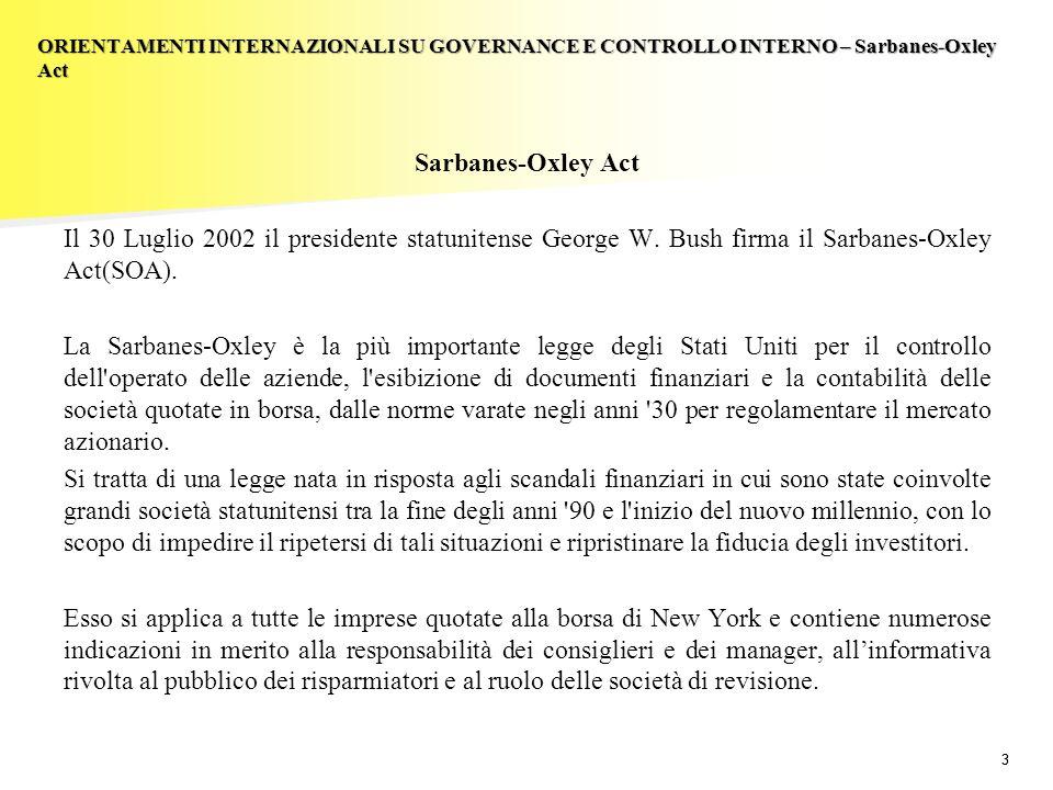 33 Sarbanes-Oxley Act Il 30 Luglio 2002 il presidente statunitense George W.