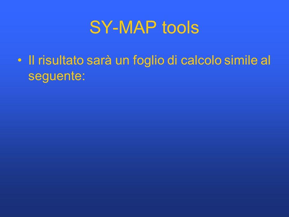 SY-MAP tools Il risultato sarà un foglio di calcolo simile al seguente: