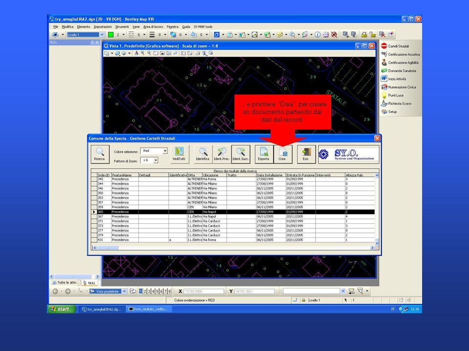 … e premere Crea per creare un documento partendo dai dati del record.