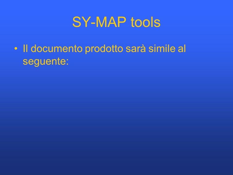SY-MAP tools Il documento prodotto sarà simile al seguente: