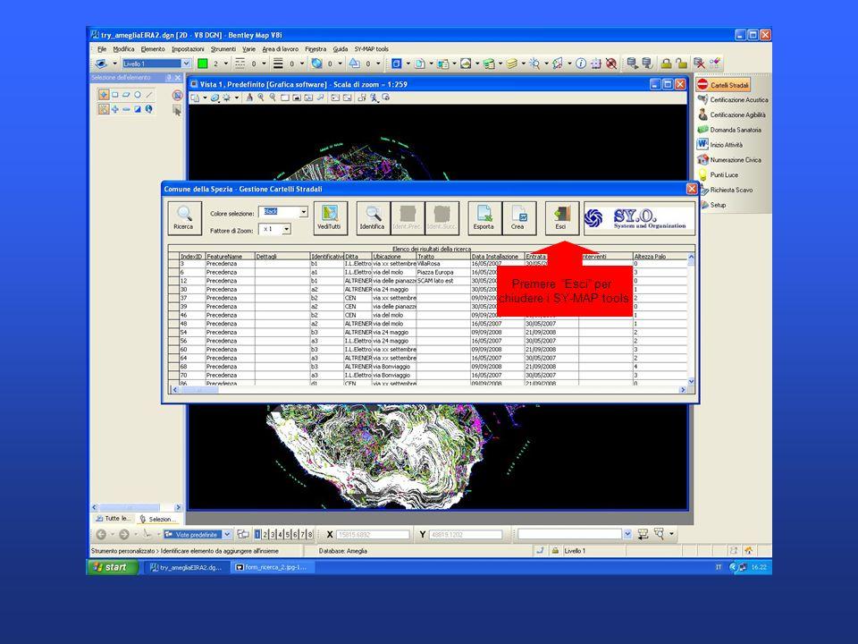 Premere Esci per chiudere i SY-MAP tools