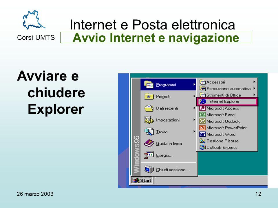Internet e Posta elettronica Corsi UMTS 26 marzo 200312 Avviare e chiudere Explorer Avvio Internet e navigazione