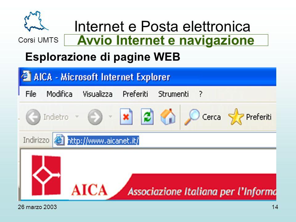Internet e Posta elettronica Corsi UMTS 26 marzo 200314 Esplorazione di pagine WEB Avvio Internet e navigazione