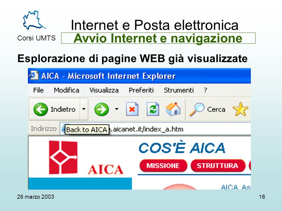 Internet e Posta elettronica Corsi UMTS 26 marzo 200316 Esplorazione di pagine WEB già visualizzate Avvio Internet e navigazione