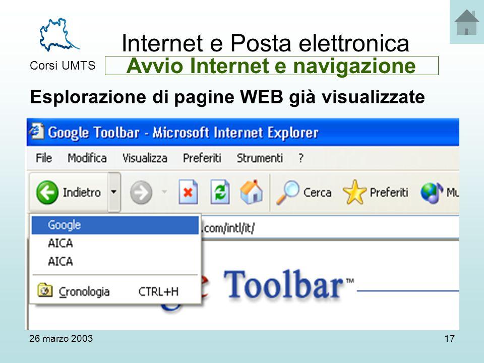 Internet e Posta elettronica Corsi UMTS 26 marzo 200317 Esplorazione di pagine WEB già visualizzate Avvio Internet e navigazione