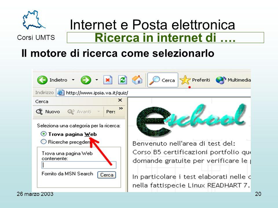 Internet e Posta elettronica Corsi UMTS 26 marzo 200320 Il motore di ricerca come selezionarlo Ricerca in internet di ….