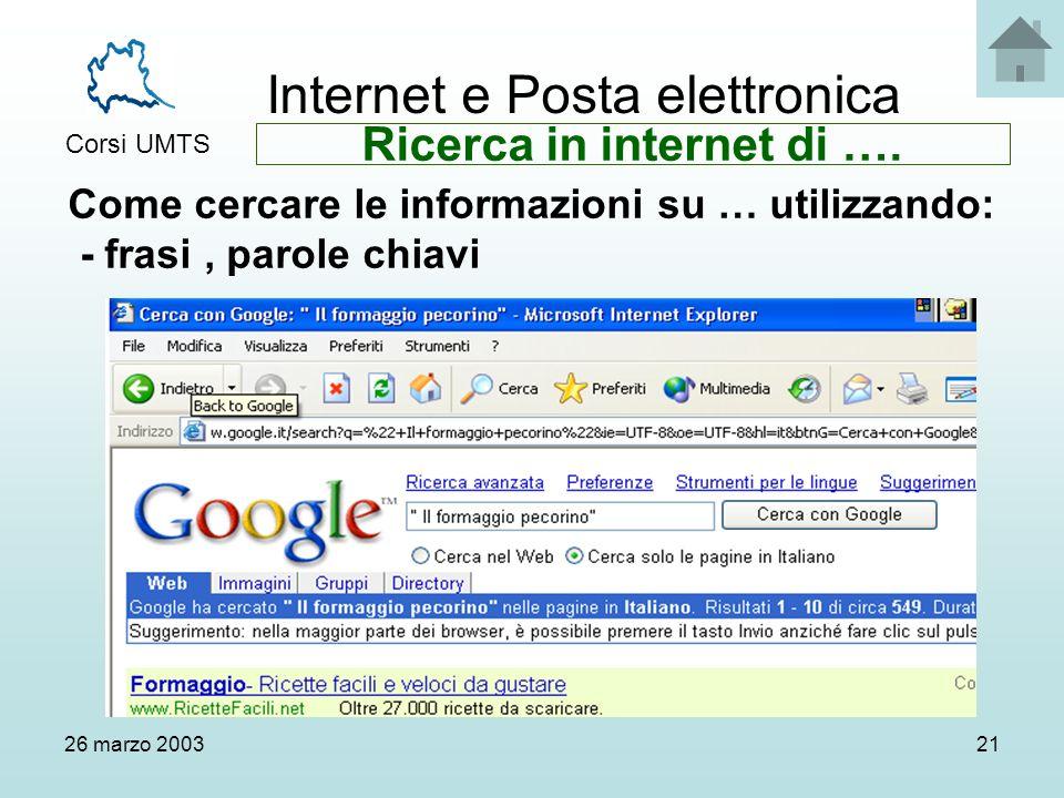 Internet e Posta elettronica Corsi UMTS 26 marzo 200321 Come cercare le informazioni su … utilizzando: - frasi, parole chiavi Ricerca in internet di ….