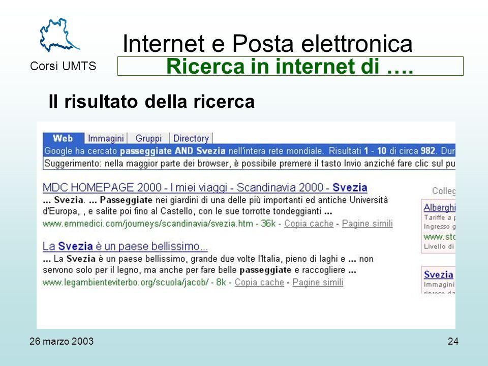 Internet e Posta elettronica Corsi UMTS 26 marzo 200324 Il risultato della ricerca Ricerca in internet di ….